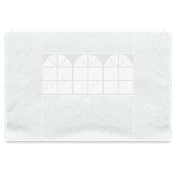 2 Seitenteile 3m für Pavillon PE Seitenwände weiß, Fenster 100 g/m² wasserdicht