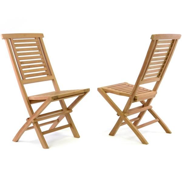 DIVERO 2er-Klappstühle Gartenstuhl massiv klappbar Teak Holz behandelt
