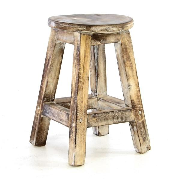 DIVERO Vintage Hocker 40cm geflammt massiv Holz Sitzhocker Blumentisch