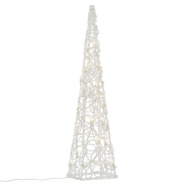 Lichterkegel Acryl beleuchtete Pyramide 30 LED warmweiß 60 cm Batterie Timer