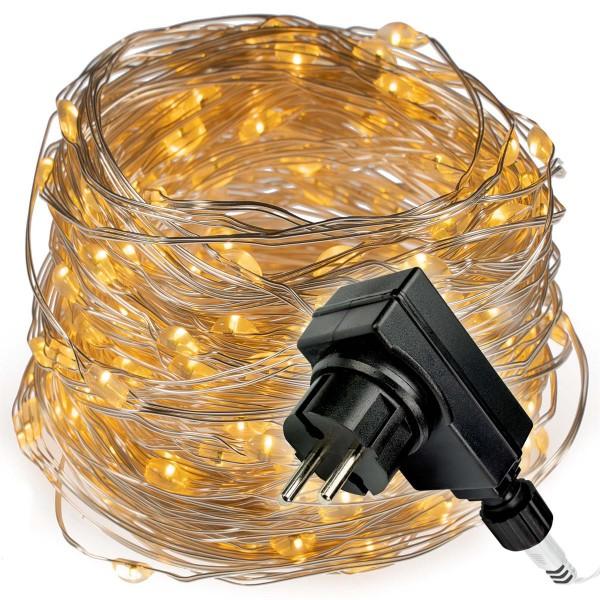 200 LED Lichterkette Silberdraht warmweiß Weihnachtsdeko Trafo Timer X-mas
