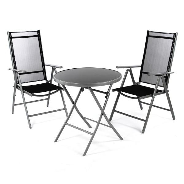 3er Set Garnitur 2 Klappstühle + 1 Klapptisch Sitzgruppe Glastisch schwarz