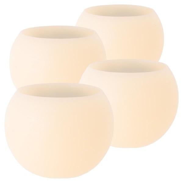 4er Set Windlicht Wachs Weiß 120er Größe 10x12 cm Lampionbowl Kerze