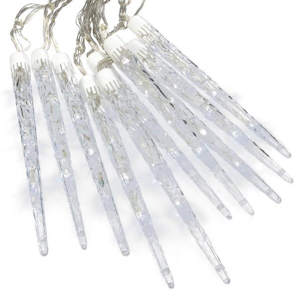 40 LED 10 Zapfen Eiszapfenkette weiß mit 8 Funktionen Trafo Timer Xmas-Deko