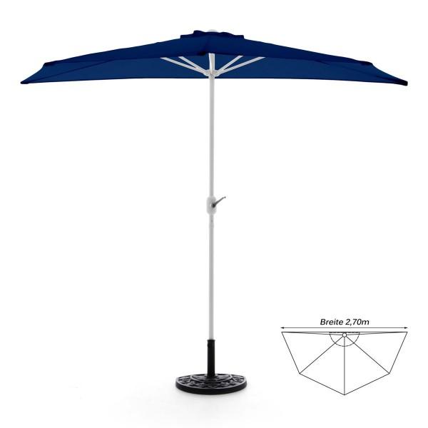 Komplett-Set Balkon Sonnenschirm blau halbrund Schirmständer + Schirmschutzhülle