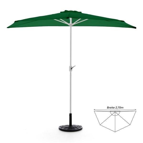 Komplett-Set Balkon Sonnenschirm grün halbrund Schirmständer + Schirmschutzhülle