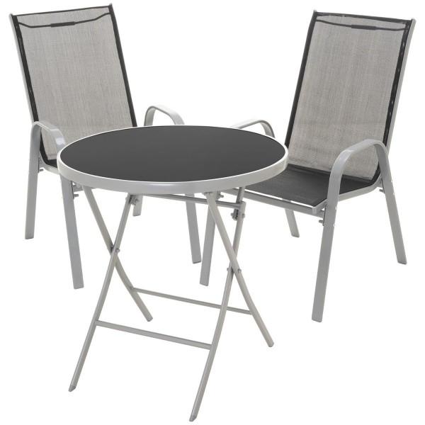 3er Set Garnitur 2 Stapelstühle + 1 Klapptisch Sitzgruppe Glastisch schwarz