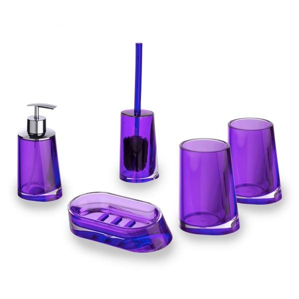 Wenko Badset Paradise Purple Seifenspender Klobürste Seifenablage 2 Becher