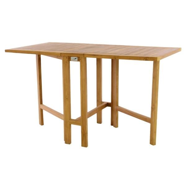 DIVERO Balkontisch Gartentisch Tisch Klapptisch Holz Teak behandelt 130x65cm