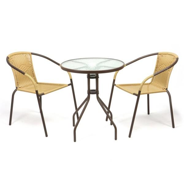 Bistroset Balkonset beige Sitzgarnitur aus Glastisch + Bistrostuhl Poly-Rattan