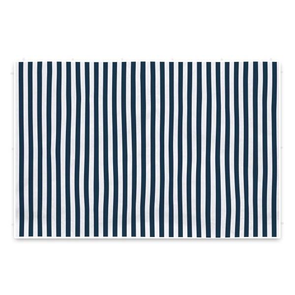2 Seitenteile ohne Fenster 3m für Pavillon PE Seitenwände marineblau weiß Plane