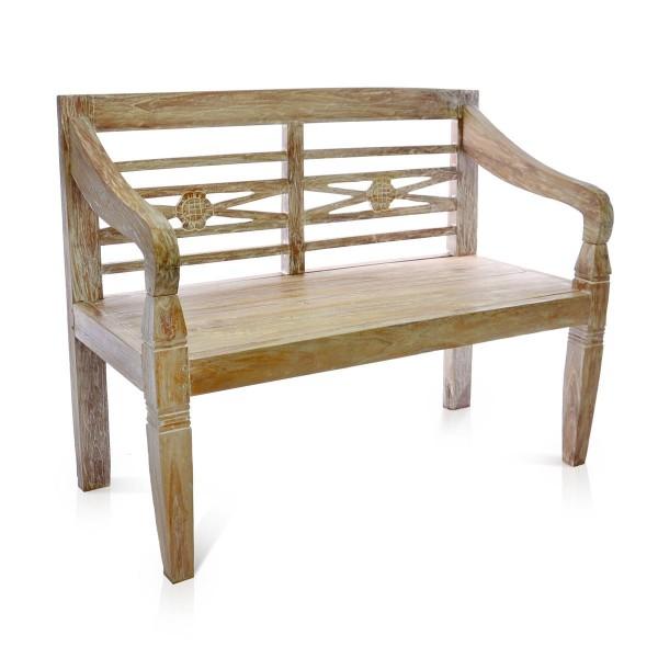 DIVERO 2-Sitzer Gartenbank massiv stabil antik Handarbeit Teak Holz 115 cm