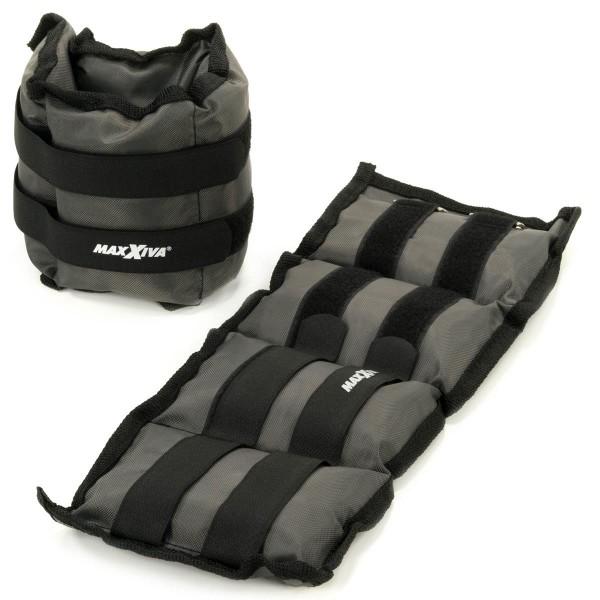 MAXXIVA Gewichtsmanschetten Set 2 x 1,5 kg Laufgewichte Grau Arm Bein