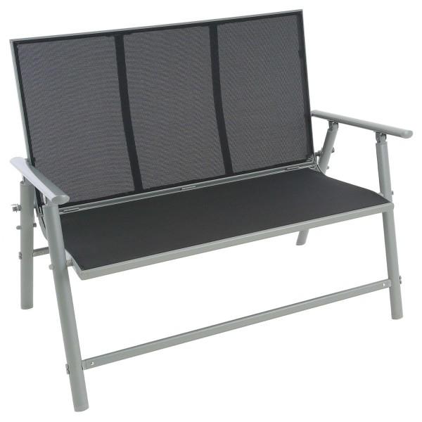 Gartenbank Alu Textilene schwarz 2-Sitzer Alu-Bank Sitzbank Gartenmöbel