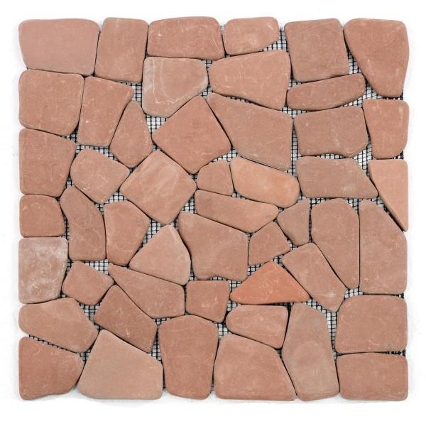DIVERO 11 Fliesenmatten Naturstein Bruchmosaik terrakotta á 30x30cm