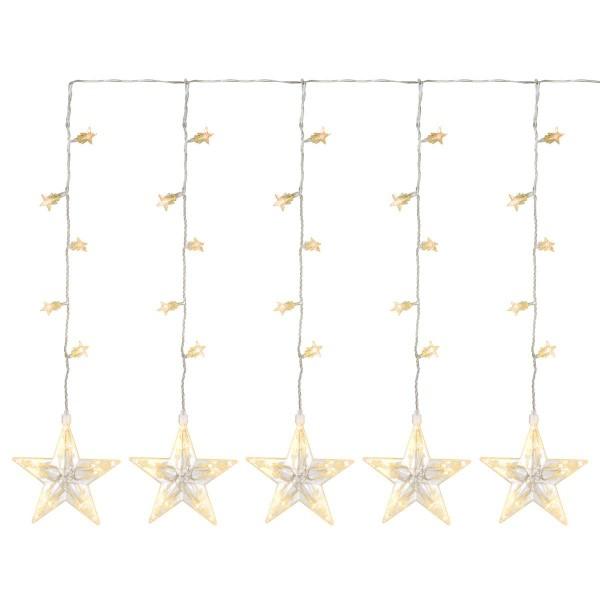 100 LED Sternenvorhang Lichterkette warm weiß Sterne Trafo Timer Weihnachtsdeko