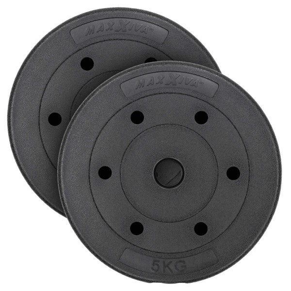 MAXXIVA Hantelscheiben-Set Zement 2x5kg Gewichte schwarz Gewichtsscheiben