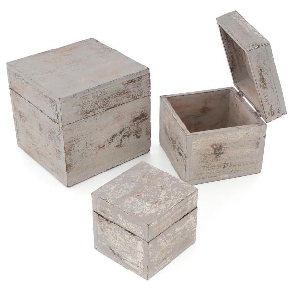 3-teiliges Holzboxen – Set mit Deckel Vintage Look Albacia Wood hellgrau