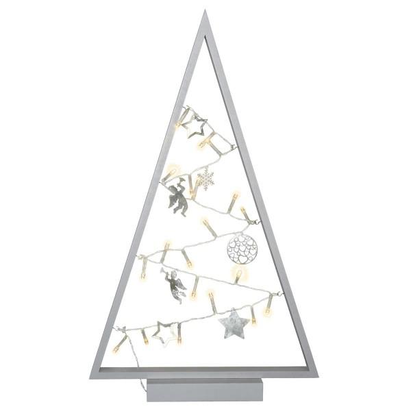 Dekoleuchte Weihnachten Rahmen grau Lichterkette 20 LED 7 Metallanhänger 50 cm