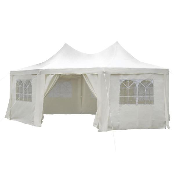 Festzelt Pavillon Partyzelt Feier-Zelt 6x4,4x3,3 m creme wasserdicht hochwertig