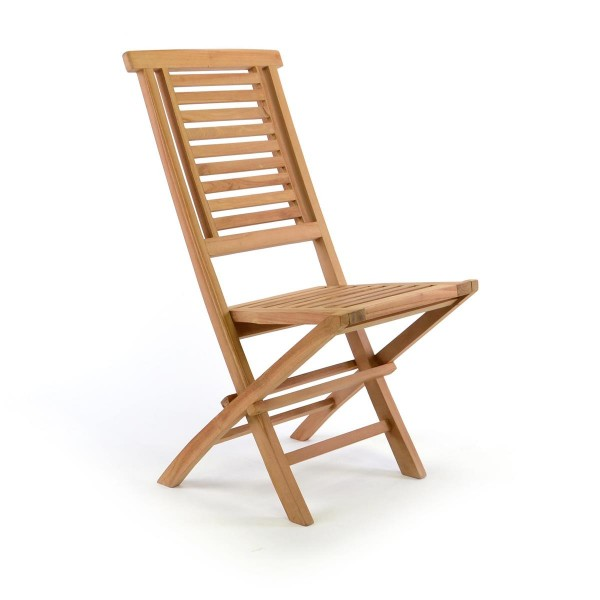 DIVERO Klappstuhl Gartenstuhl massiv klappbar Teak Holz behandelt