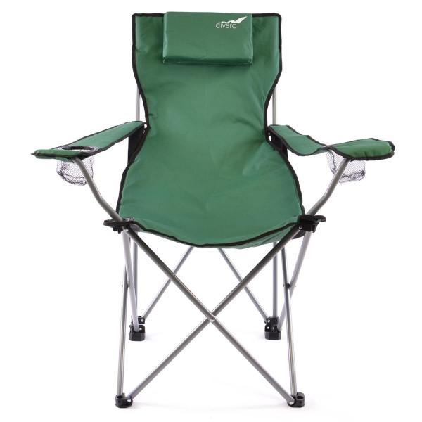 Divero Camping Stuhl Faltstuhl Angelstuhl dunkelgrün Kopfkissen Getränke robust