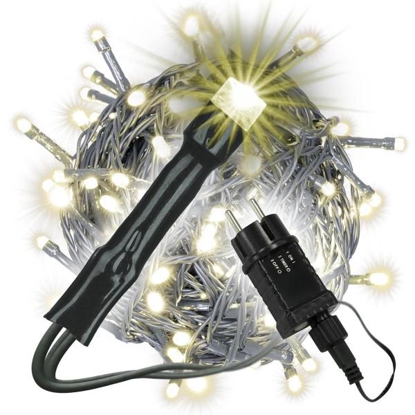 200 LED Lichterkette warm weiß Außen grünes Kabel Timer Trafo Weihnachten