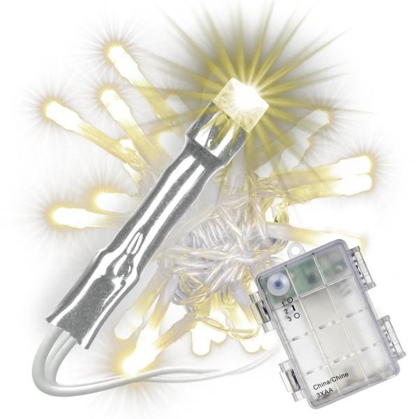 50 LED Lichterkette mit Timer warm weiß transparentes Kabel Batterie Außen