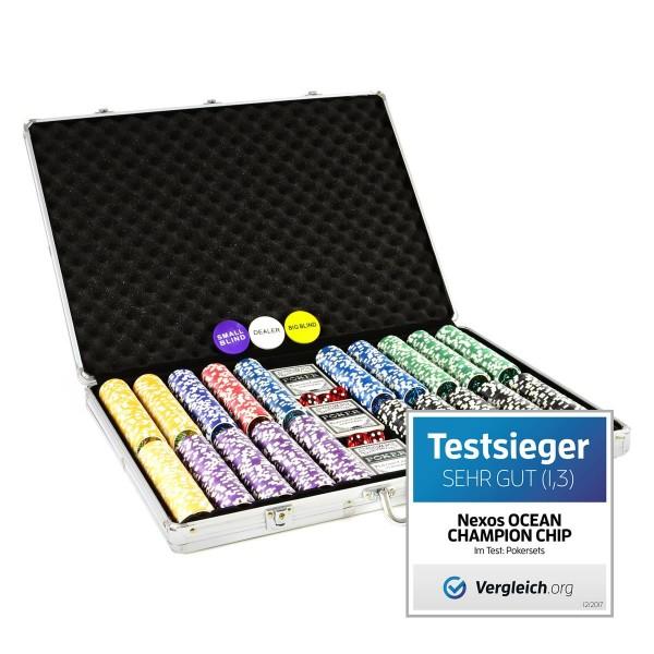 Pokerkoffer 1000 Laser-Pokerchips abgerundet Ocean-Champion-Chip Sonderedition