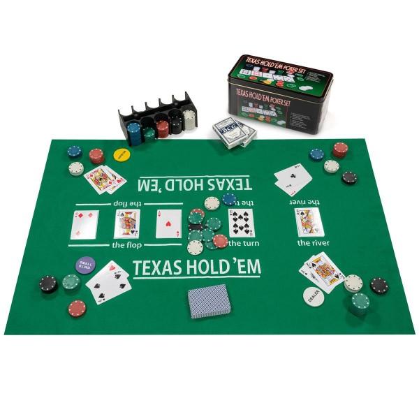 Pokerset 200 Pokerchips Spielmatte Pokerkarten Geschenkbox aus Metall