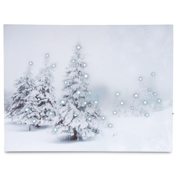 LED Wandbild Kunstdruck mit Beleuchtung Winterwald 30x40 cm Leinwand Batterie