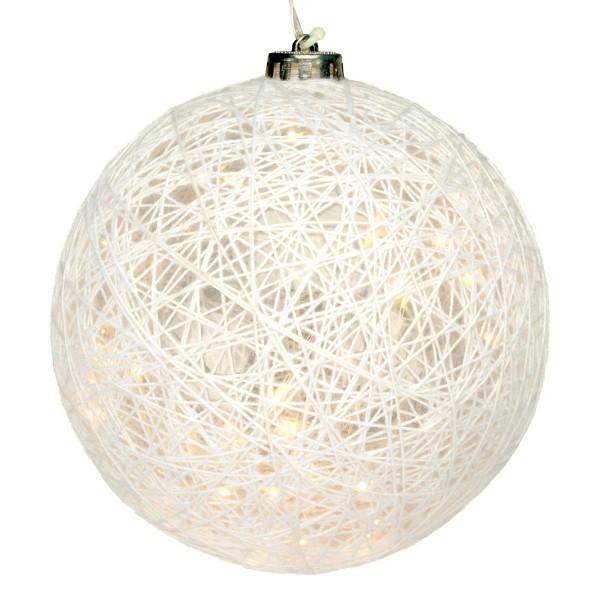 Dekokugel Flechtdesign 40 LED warm weiß Partydeko Batterie Timer Leucht-Kugel