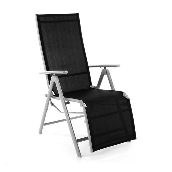 Gartenliege Sonnenliege Liegestuhl Relaxliege Terrasse Balkon schwarz grau