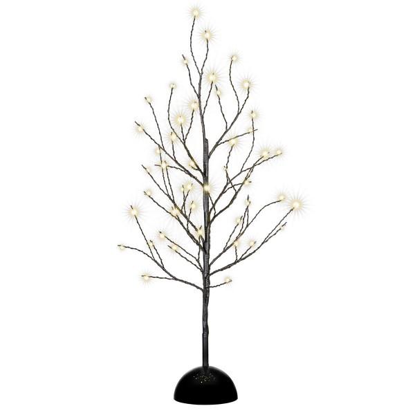 Dekobaum schwarz 48 LED warm weiß Leuchtbaum Lichtbaum Batterie Timer 60 cm
