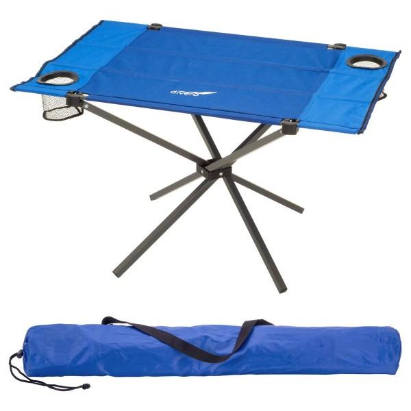 Divero Campingtisch Falttisch faltbar 80x50cm blau mit Getränkehalter Polyester Stahl