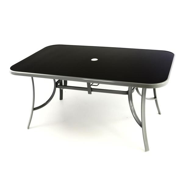 Gartentisch Esstisch Terrassentisch Glasplatte schwarz 150 cm Stahl Buffet-Tisch