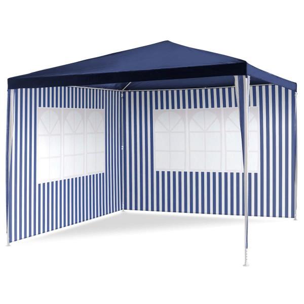Pavillon 3x3 m in blau weiß PE Plane 2 Seitenteile Partyzelt Gartenzelt Zelt