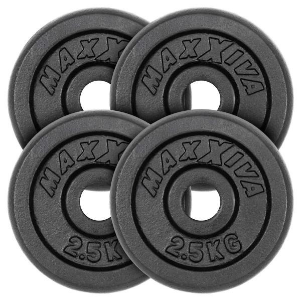 MAXXIVA Hantelscheiben 4er Set Gewichtsplatte je 2,5 kg Gusseisen schwarz 10 kg