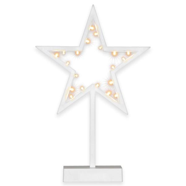 20 LED Dekoleuchte Stern warm weiß Weihnachtsstern Dekostern 38 cm Timer Batterie