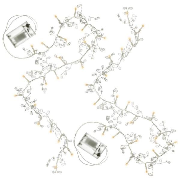 2er Set Lichterkette Kristalle 20 LED warm weiß Batterie Timer Partydeko Xmas