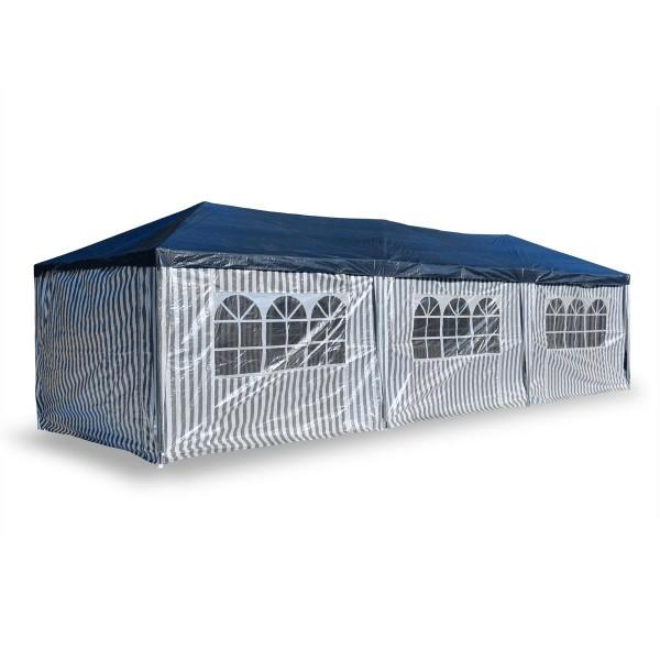 Pavillon Partyzelt Raucherzelt blau weiß 3x9m PE Gartenzelt Festzelt Marktzelt