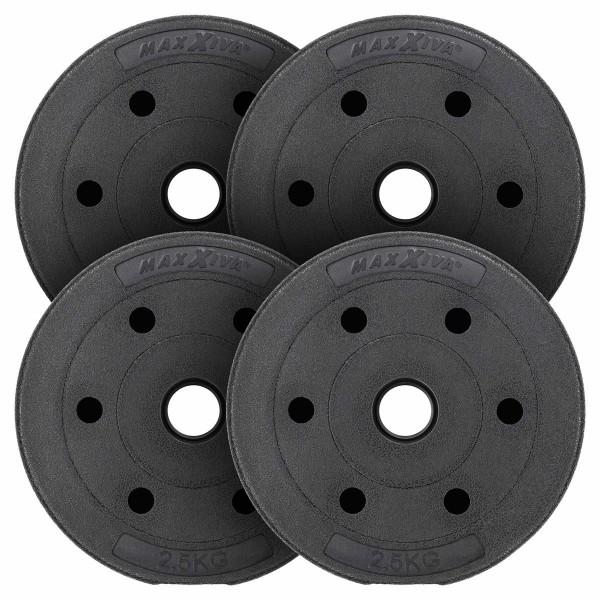 MAXXIVA Hantelscheiben-Set Zement 4x2,5kg Gewichte schwarz Gewichtsscheiben 10