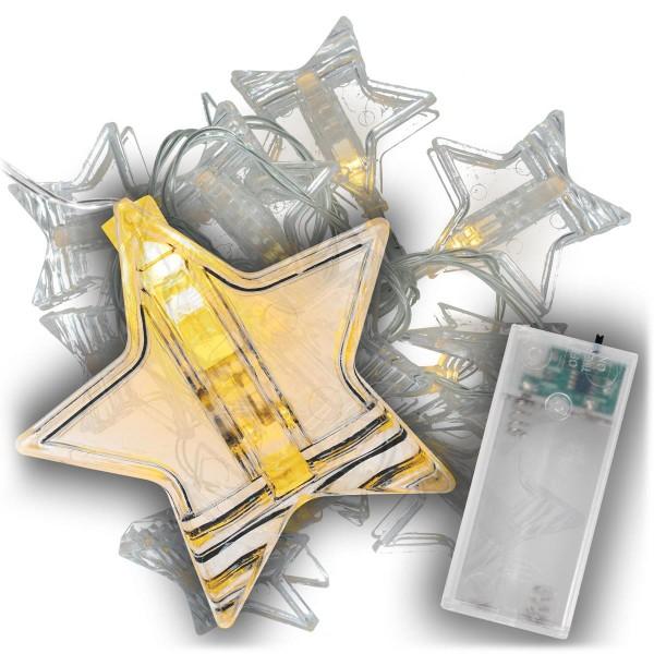 Lichterkette Clip Sterne 10 LED warm weiß Stern-Lichterkette Batterie Timer