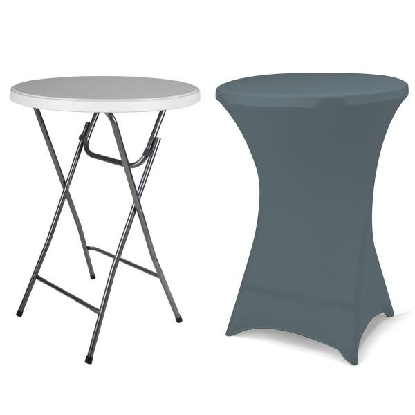 Partytisch Stehtisch mit Husse anthrazit klappbar Bistrotisch Bartisch 110 cm rund