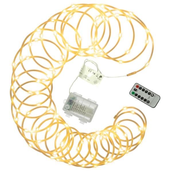 10 m Mini-Lichterschlauch 100 LED warmweiß gefrostet 8 Funktionen Timer Batterie