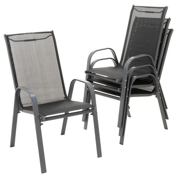 4er Set Gartenstuhl Stapelstuhl Campingstuhl Textilene schwarz Rahmen anthrazit