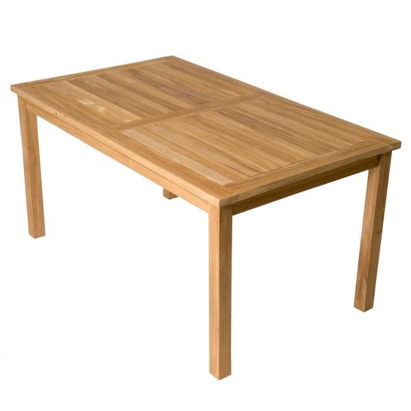 DIVERO Esstisch Gartentisch Balkontisch Teakholz Tisch behandelt massiv 150x90