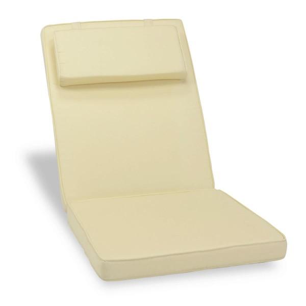 DIVERO Sitzauflage Stuhlauflage Polster für Hochlehner Gartenstuhl creme