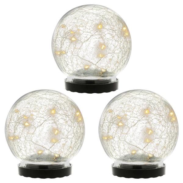 3er Set Solarleuchten mit Glaskugel 10 LED warm weiß Solarlampe 11 cm
