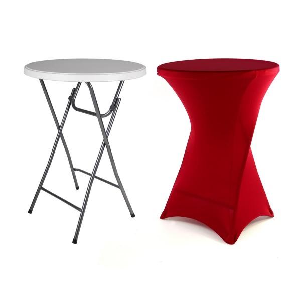 Partytisch Stehtisch mit Husse rot klappbar Bistrotisch Bartisch 110 cm rund